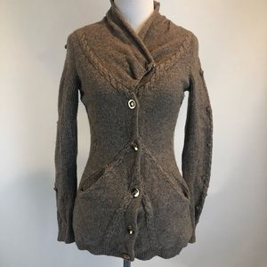 Anthropologie Leifsdottir Button Wool Bl Cardigan